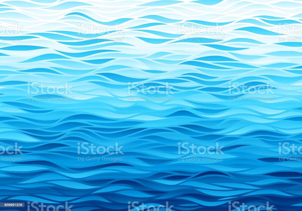 Fondo azul Olas - ilustración de arte vectorial