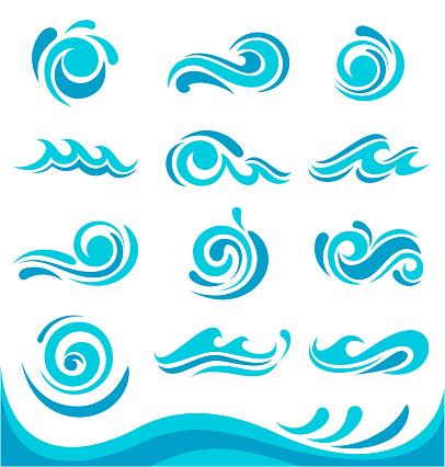 Vector illustration of the blue waves set.