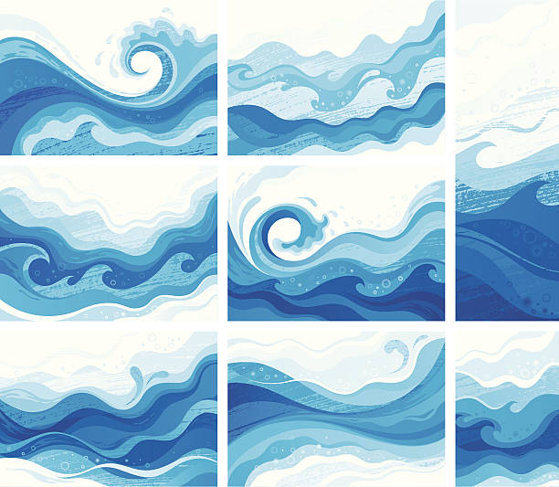 illustrations, cliparts, dessins animés et icônes de blue vagues - ocean