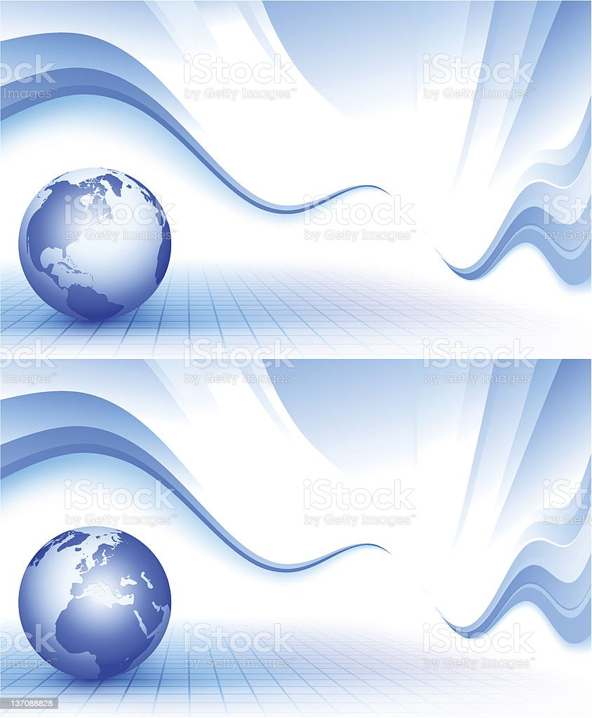 Blue wavy background with globe royalty-free stock vector art
