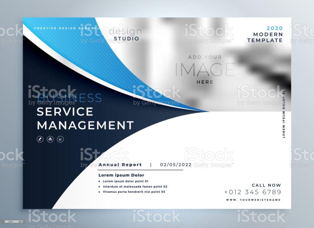 Modèle De Page De Garde Bleu Business Ondulés Brochure Ou