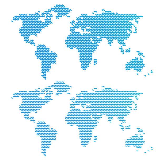 Blue wavy world map vector art illustration