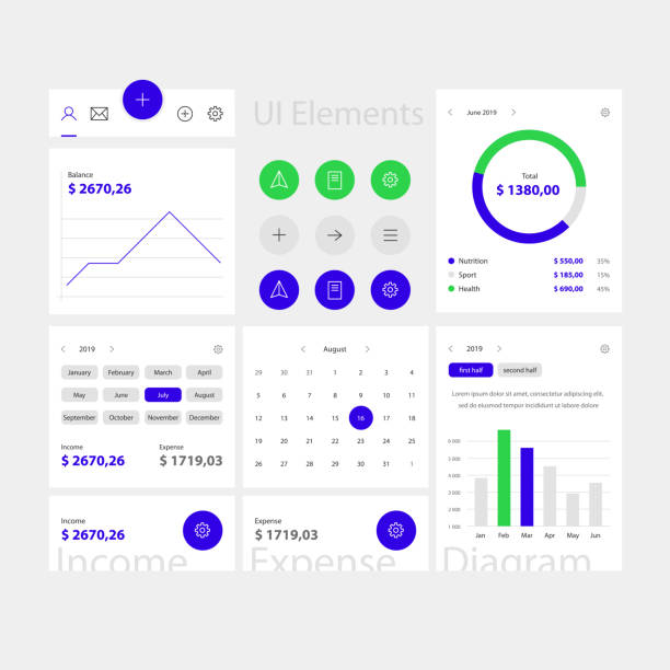 Blue web and app ui elements template Blue web and app ui elements template. Minimal web interface with navigation, buttons, icons for use on the site. Daily ui baby animals stock illustrations