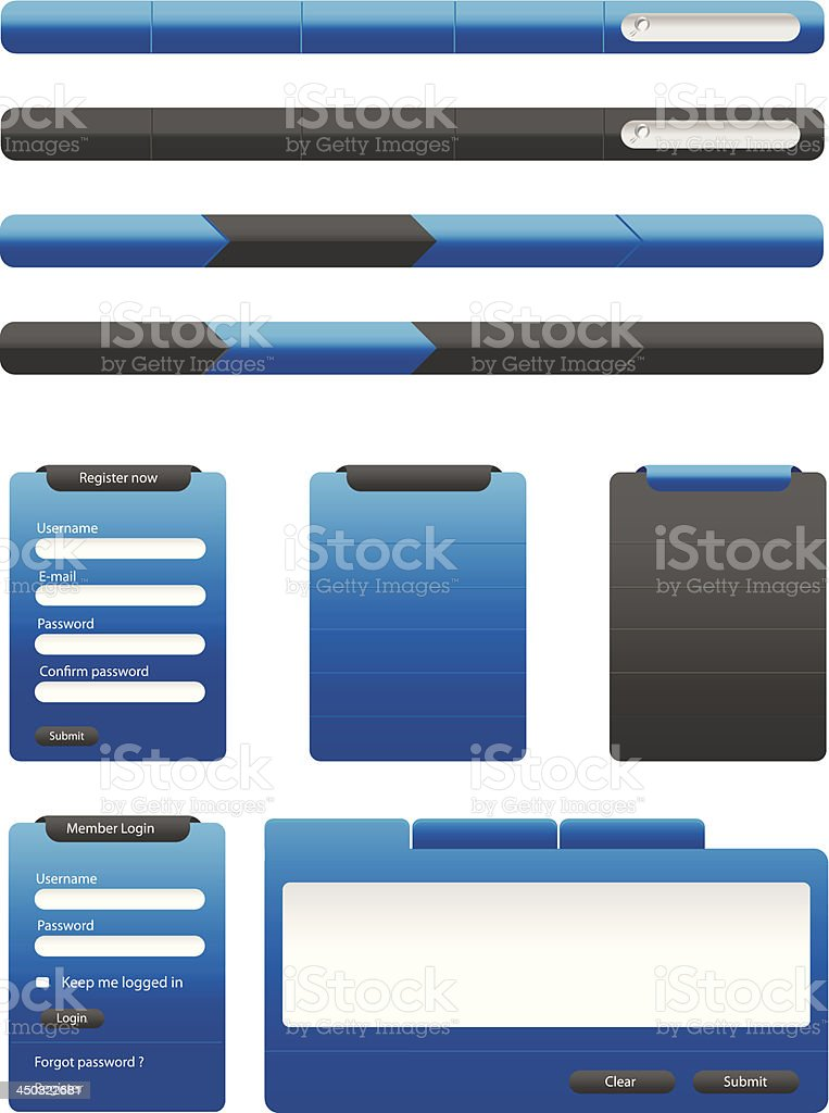 Blue web elements collection royalty-free blue web elements collection stock vector art & more images of application form