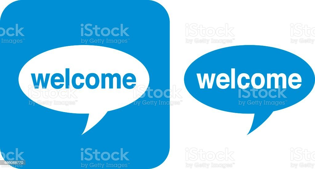 Blue Welcome Speech Bubble Icon Stock Vector Art More Images Of