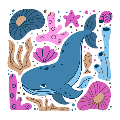 Blue whale hand drawn illustration. Square cartoon clipart of ocean animal with pink sea plants