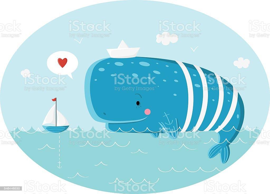 Blue whale in the sea – Vektorgrafik