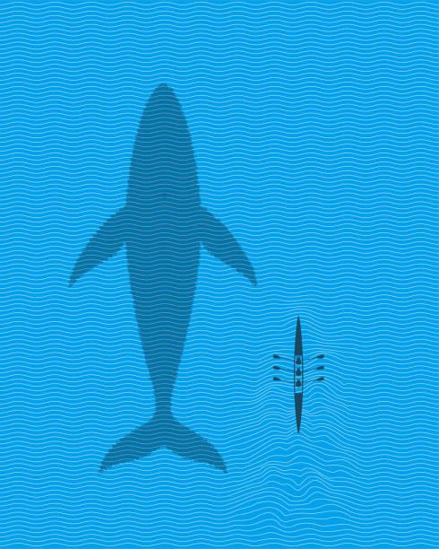 ローイングボートで泳ぐ青鯨 - 小型船舶点のイラスト素材/クリップアート素材/マンガ素材/アイコン素材