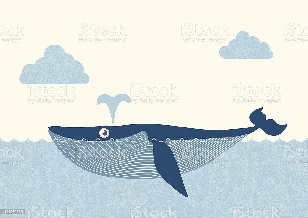 blue whale vector art illustration