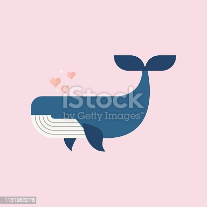 Blue whale with hearts. Vector illustration