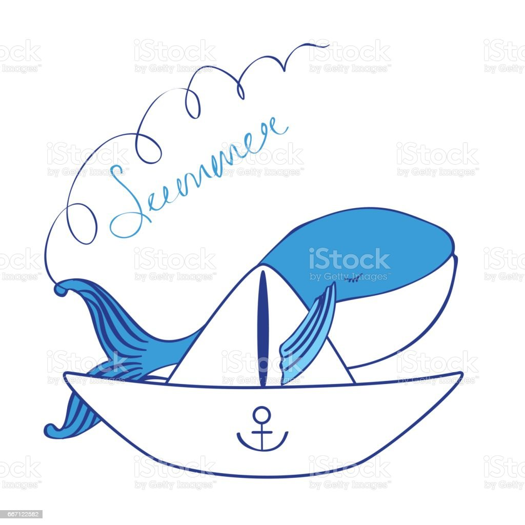 Blue Whale With Paper Boat Cartoon Illustration Isolated On White ...