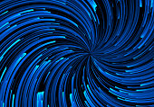 This vector illustration features surreal graphic art background. It is a combination of lineer patterns incorporating contrast colors, whirling to center of the image like a wave, whirlpool. The image is simple, detailed and atmospheric. The use of shine and color portrays a sense of circular motion action.