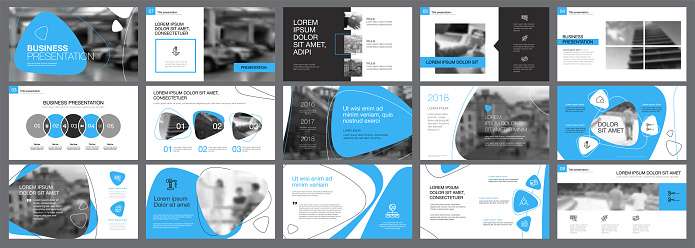 Blue, white and black infographic elements for presentation