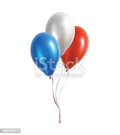 Vector illustration of three balloons, blue, white and red colors.