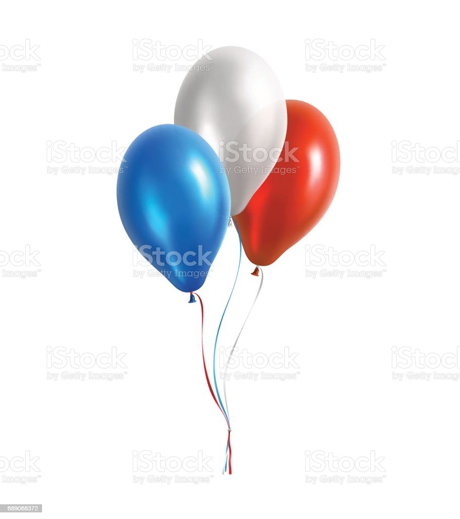 Blue, White and Red Vector Balloons vector art illustration