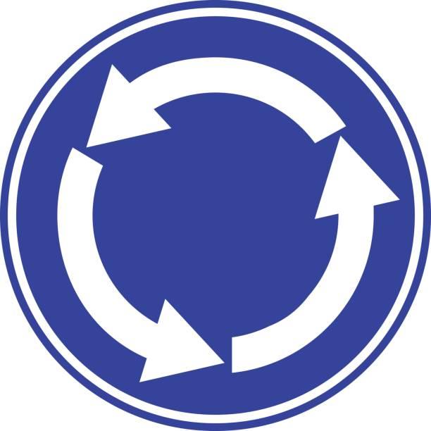 illustrations, cliparts, dessins animés et icônes de main droite des flèches bleu, blanc - rond point
