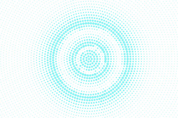 Blue white dotted halftone. Halftone vector background. Concentric circle dotted gradient. vector art illustration
