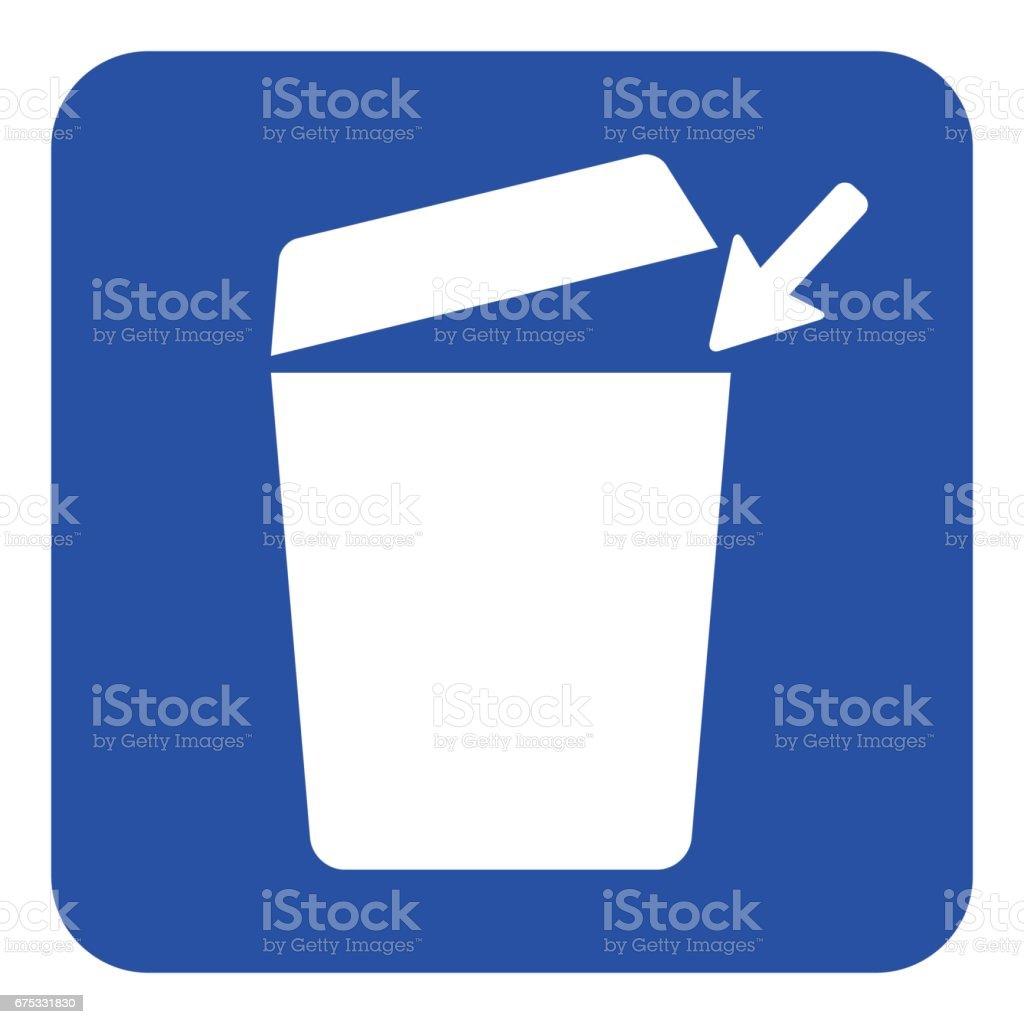 blue, white information sign - trashcan icon vector art illustration