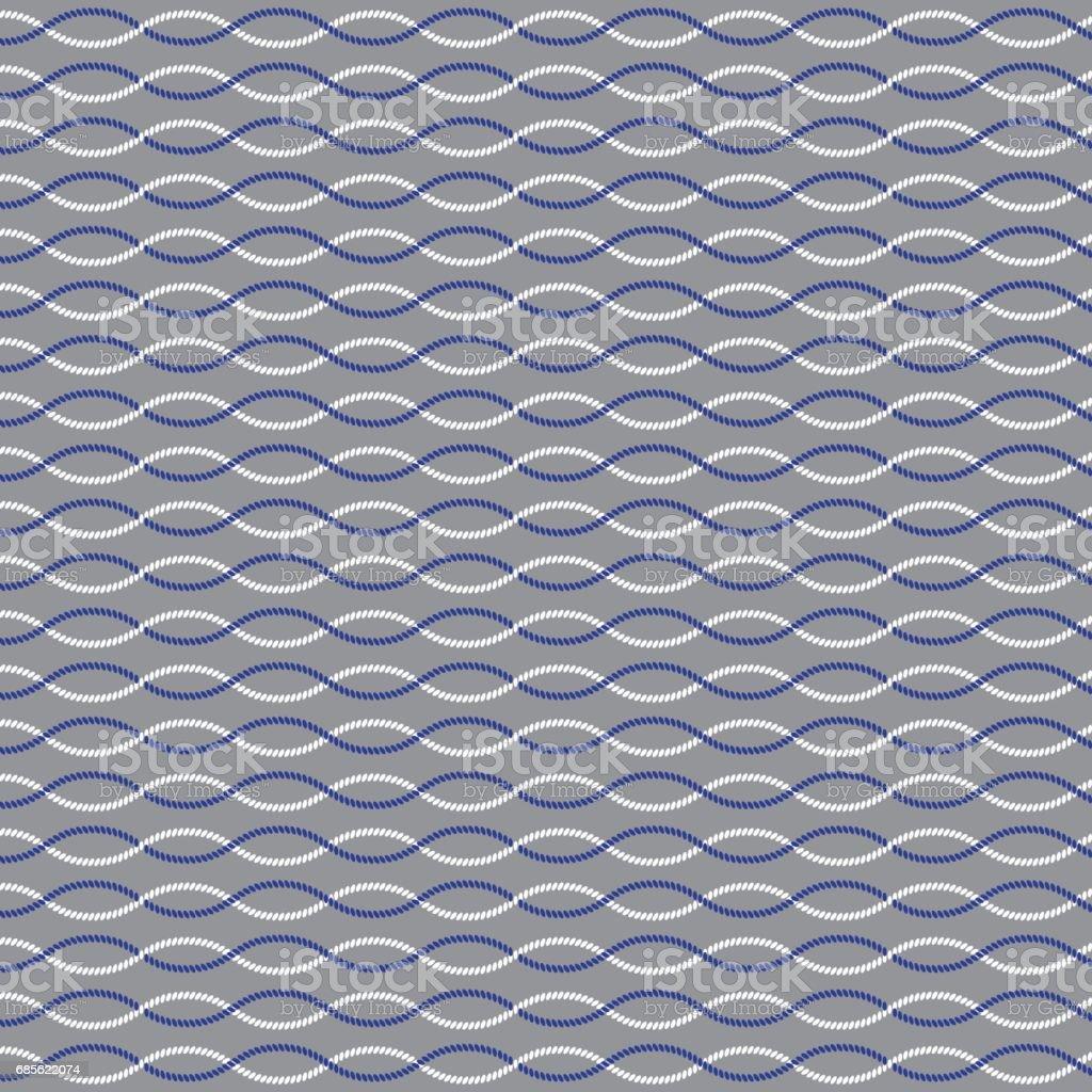 blue white nautical rope stripe on gray vector art illustration