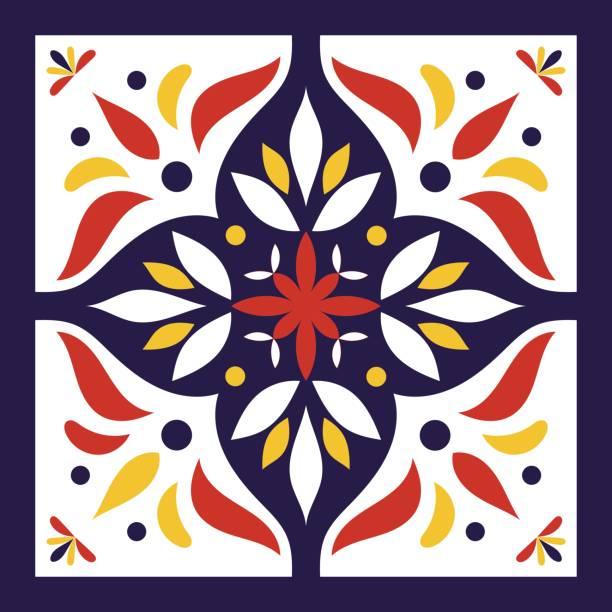 illustrations, cliparts, dessins animés et icônes de vecteur de carreaux bleu, blanc, rouge et jaune - cuisine espagnole