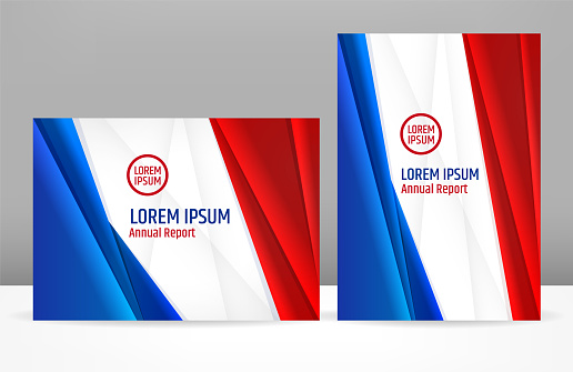 Blue white red corporate template design for brochure cover or presentation for government or business company. National colors are suitable for USA, France, Netherlands, UK, Australia, Czech Republic