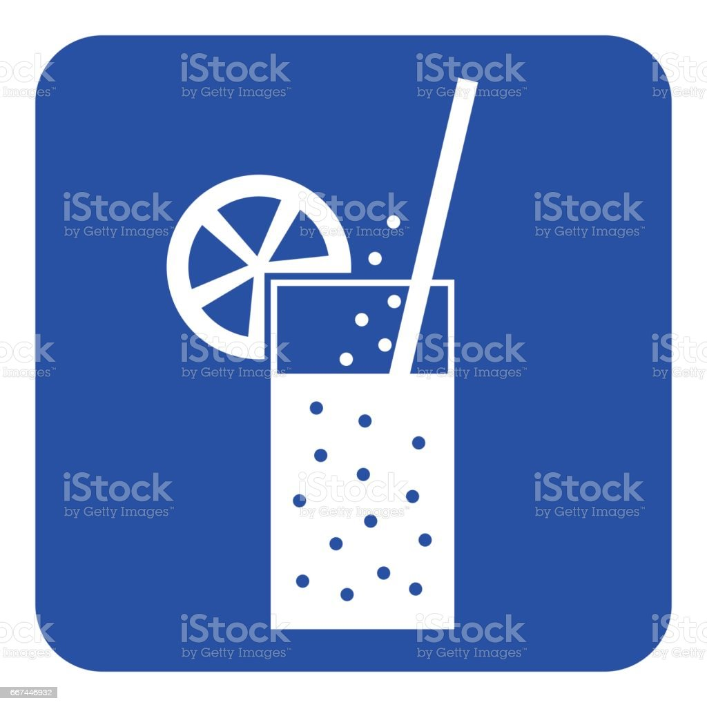 blue, white sign - carbonated drink, straw, citrus vector art illustration