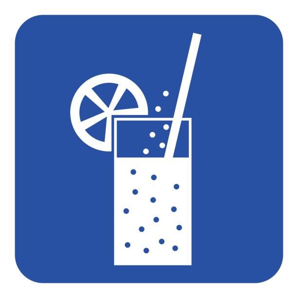 ilustraciones, imágenes clip art, dibujos animados e iconos de stock de signo de azul, blanco - carbonatada bebida, paja, cítricos - bebida gaseosa