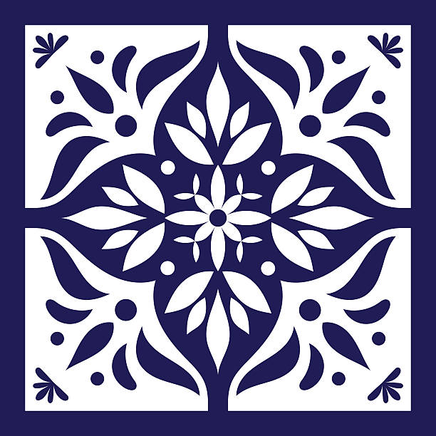 Blue white tile vector. Delft dutch - ilustración de arte vectorial