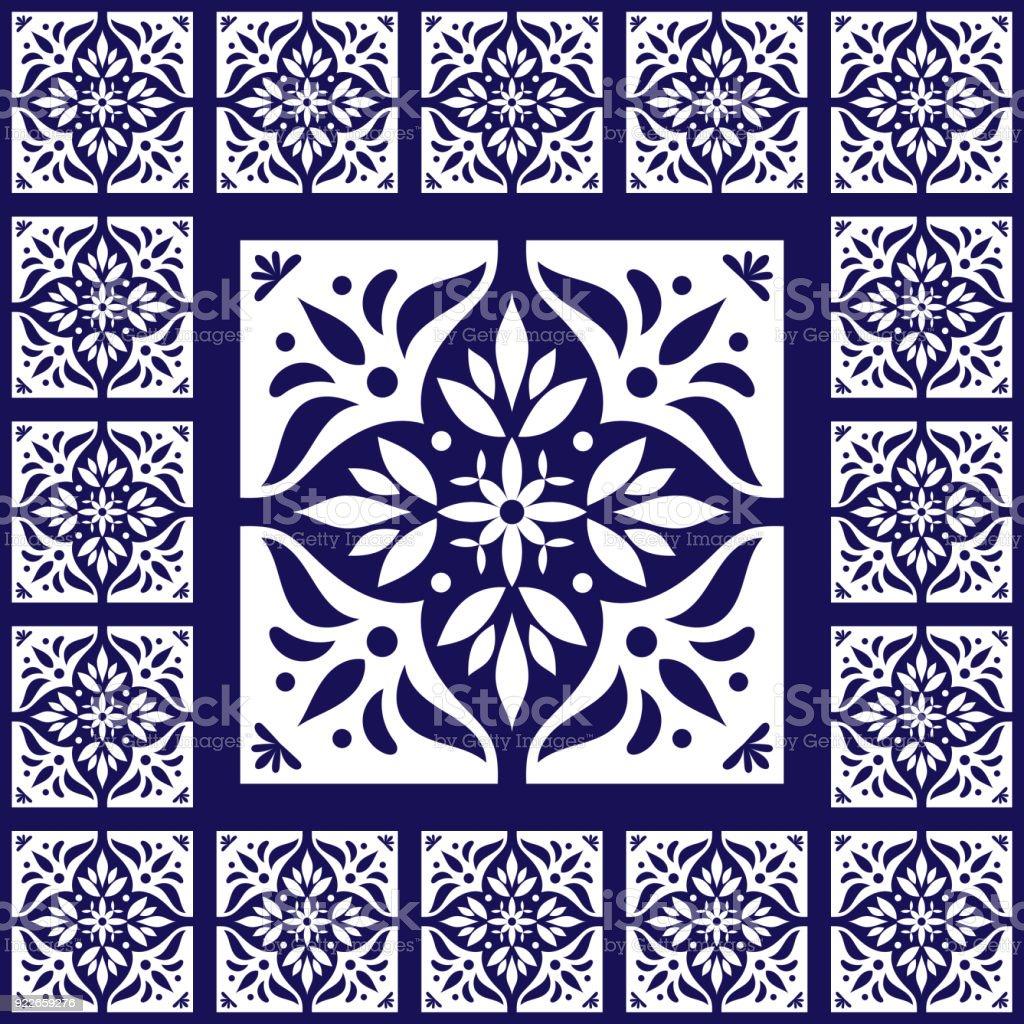 Bleu Carreaux Blancs Vecteur Vintage Avec Du Ciment Céramique