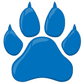 Blue wildcat paw print isolated vector illustration