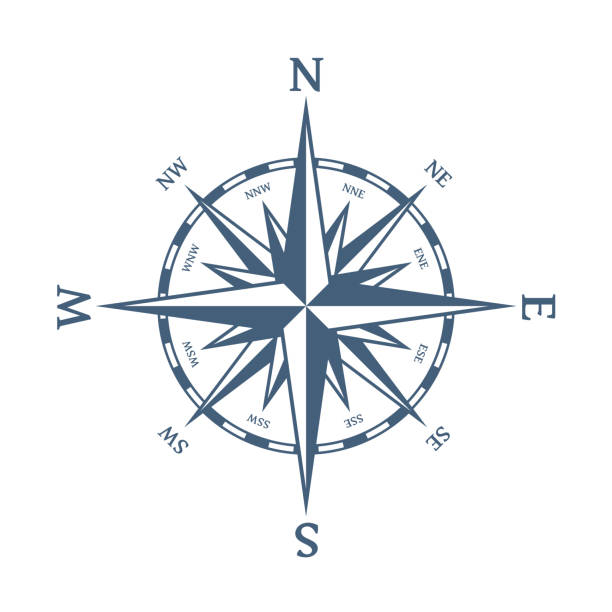blue wind rose. - compass stock illustrations