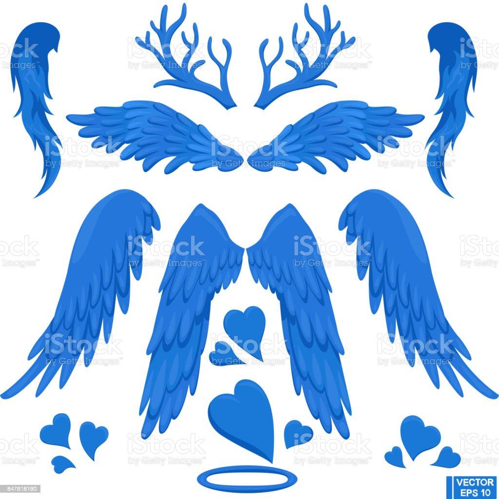 青い翼と角、設定します。 ベクターアートイラスト