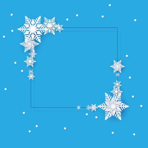 Blue winter background with snowflakes. Christmas decoration. Blue square winter template with white beautiful snowflakes. Christmas and New Year decoration. Vector background. christmas borders stock illustrations