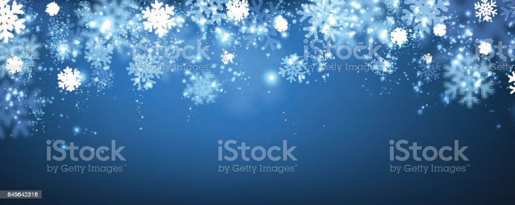 Blue winter banner with snowflakes. vector art illustration