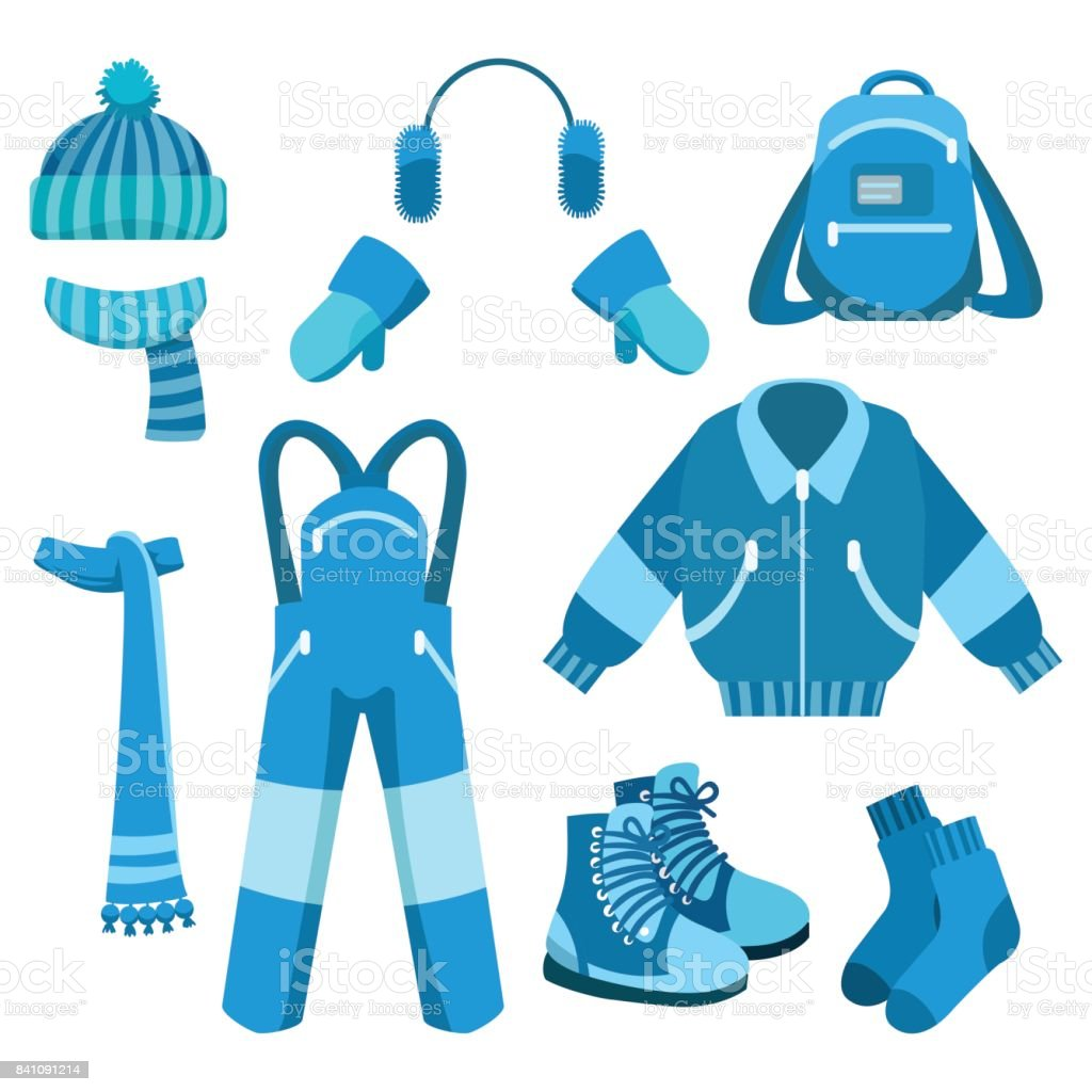 Blue winter clothes collection vector art illustration