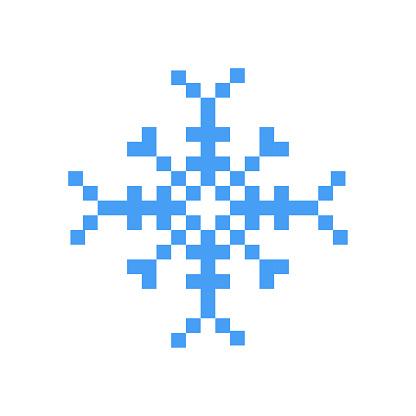 Blue Winter Snowflake Pixel Art Cartoon Retro Game Style