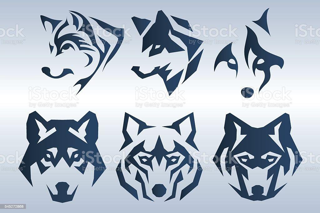 Blue wolf logo vector art illustration
