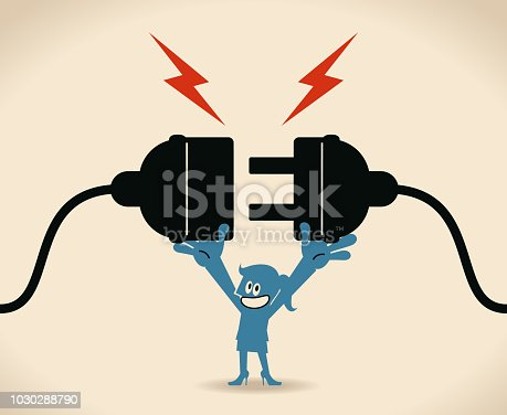 Blue Little Guy Characters Full Length Vector art illustration.Copy Space. Blue woman holding huge wired electrical plug and socket ready to establish connection.
