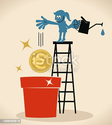 Blue Little Guy Characters Full Length Vector art illustration.Copy Space. Blue woman on top of ladder sowing a euro sign currency and watering.