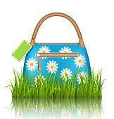 Blue woman spring bag with chamomiles flowers and sale label