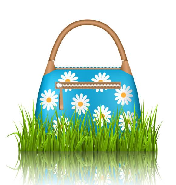 blau frau frühling tasche mit chamomiles blumen im gras rasen - lederranzen stock-grafiken, -clipart, -cartoons und -symbole