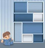 Blue wood shelf with baby boy.