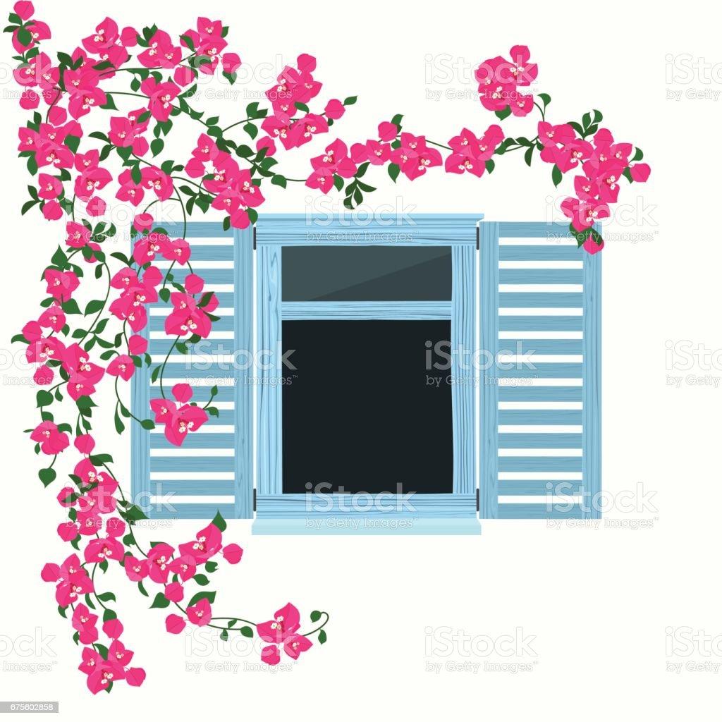 Güzel çiçekli mavi ahşap pencere vektör sanat illüstrasyonu