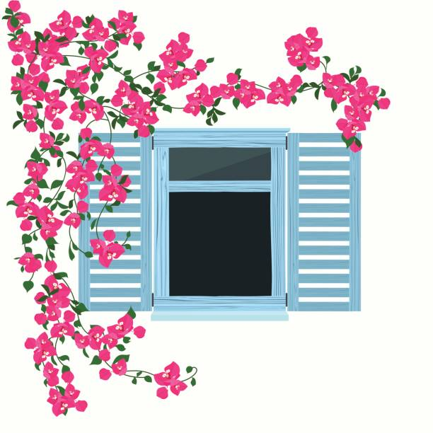 Ventana de madera azul con flores - ilustración de arte vectorial