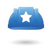 Blue work helmet with a star