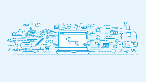 Blue workspace with doodle icons vector art illustration