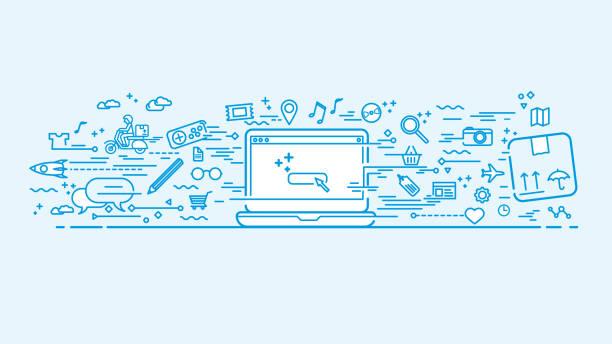 Espace de travail bleu avec des icônes de doodle - Illustration vectorielle
