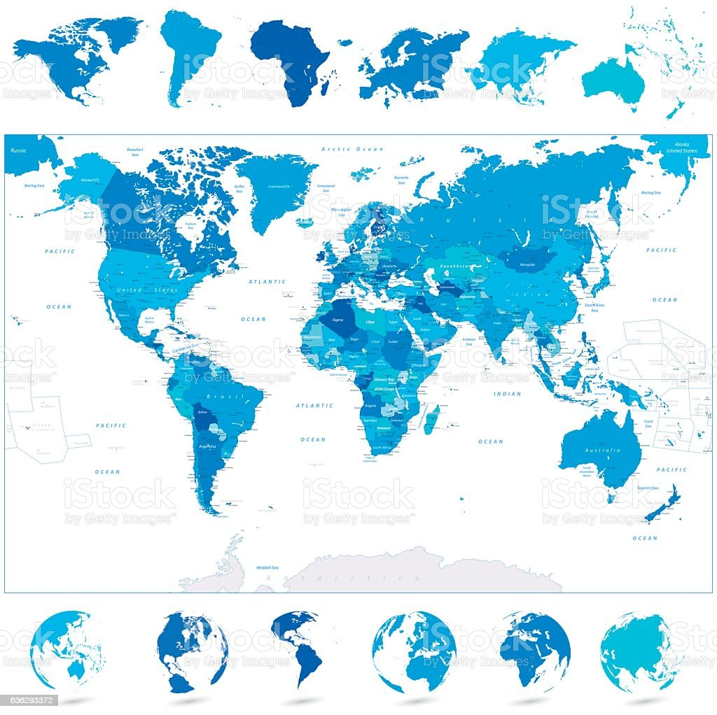 Blue world map and continents stock vector art 636293372 istock blue world map and continents royalty free stock vector art gumiabroncs Images