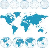 Vector world map and wireframe globes in blue.