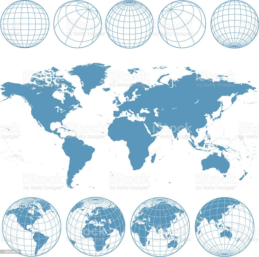 blue world map and wireframe globes vector art illustration
